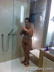 German brunette in shower