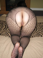 Wife in new full body fishnet lingerie