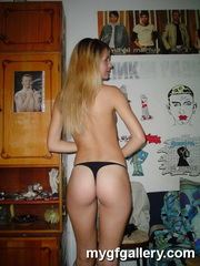 Blonde girl in thong