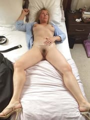 Frustrated wife with hairy pussy