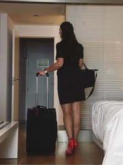 Sexy stewardess posing