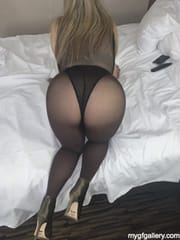 Sexy wife in pantyhose and heels for husband