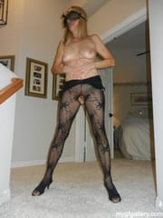 My wife likes to pose in tights.
