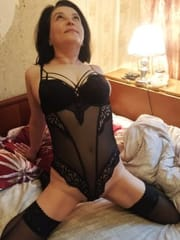 Russian sexy wife trying on stockings